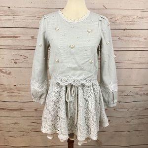 The P&K Lace & Pearl Flower Crop Top Tweed Dress